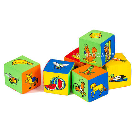 Набор мягких кубиков ТМ Ярослав с картинками, фото 2
