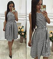 Платье женское короткое трикотажное в полоску P3279