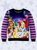 Детский реглан для девочки (свитшот, свитер, водолазка) Disney герои Алиса темно синий в полоску