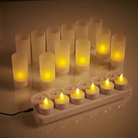 LED (светодиодные, электронные) свечи 12 шт + зарядное устройство