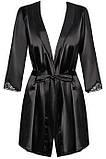 Элегантный черный халатик Satinia robe Obsessive, фото 2