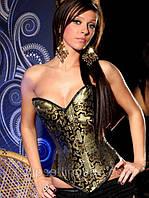 Корсет черного цвета с золотистым орнаментом, фото 1