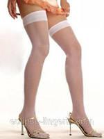 Белые чулки с широкой резинкой