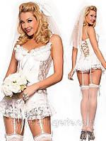 Кружевной свадебный пеньюар белого цвета