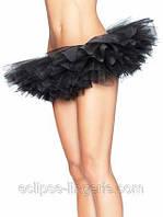 Многослойная черная юбка из органзы
