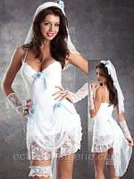 Свадебный пеньюар белого цвета с декором