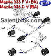 Сайлентблок Mazda 323(BA) к-кт 12шт ЗАДНЯЯ ПОДВЕСКА, фото 1