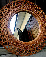 Зеркало из лозы, ротанга плетеное, фото 1