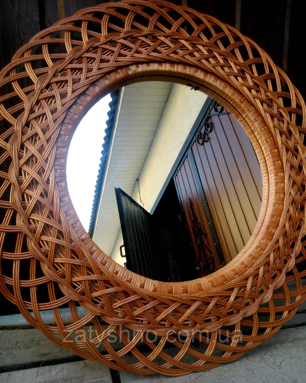Зеркало из лозы, ротанга плетеное