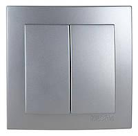 Выключатель двухклавишный Nilson Touran серебро