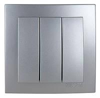 Выключатель трехклавишный Nilson Touran серебро