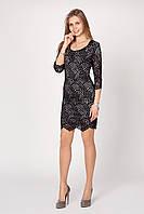 Нарядное гипюровое женское платье чёрно-бежевого цвета
