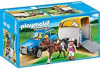 Конструктор Playmobil 5223 Джип с трейлером для перевозки лошадей, фото 1