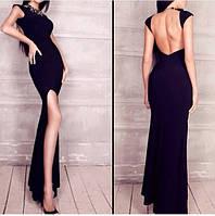 Платье вечернее с открытой спиной, ткань масло , цвет черный , длина платья 165 см аа №137300