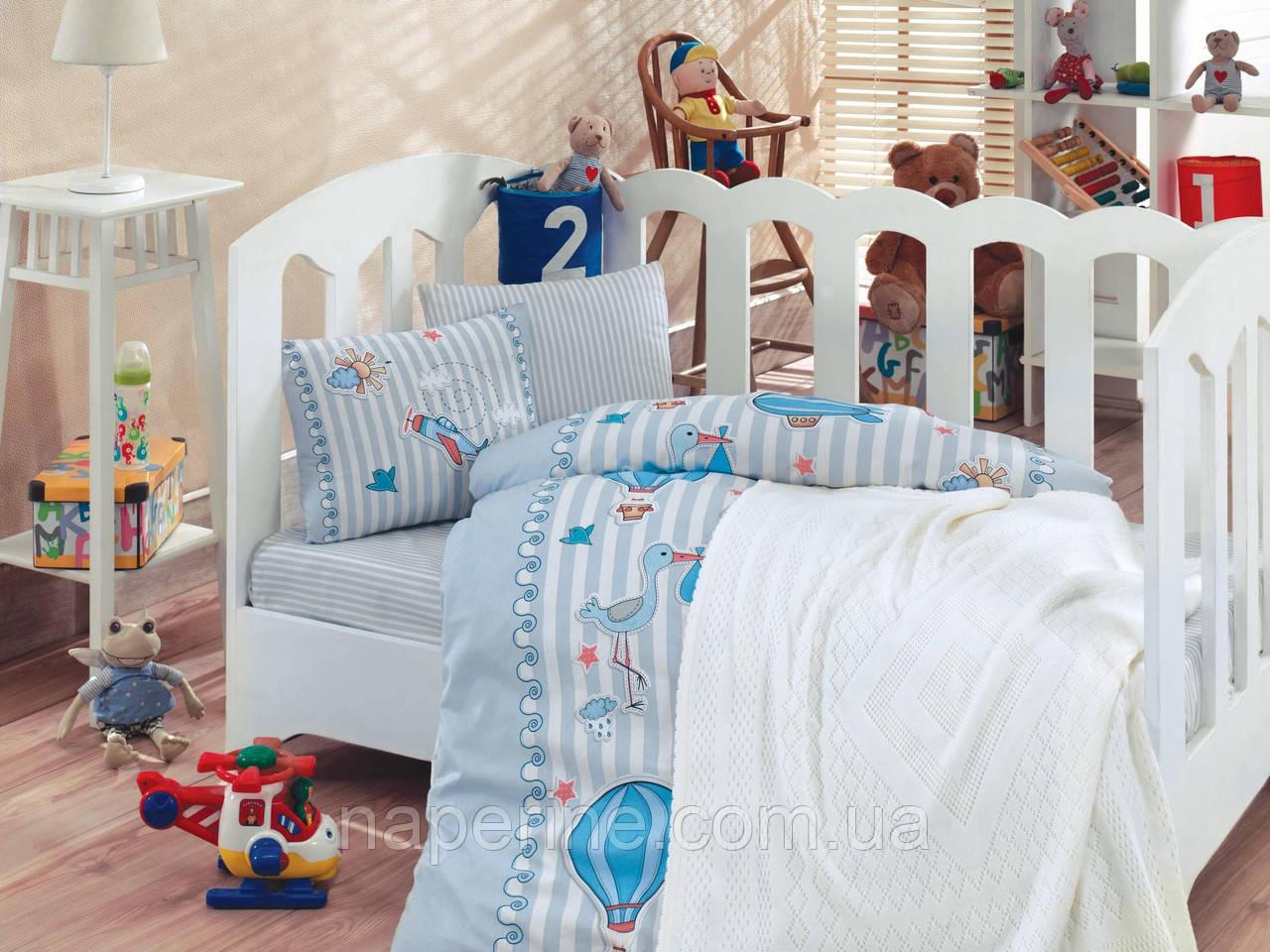 """Детское постельное бельё в кроватку Cotton Box с вязаным пледом """"Gezgin"""" 100% хлопок"""