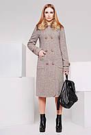 Пальто женское с опушкой PL-8588 коричневое