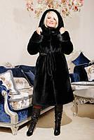 Эко Шуба с капюшоном,черный мутон 44-58рр