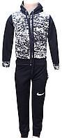 Детский спортивный костюм на молнии, черный, на 6-10 лет