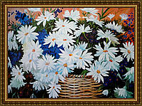 Картина Ромашки в корзине 300х400мм №653 в багетной рамке