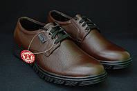 Демисезонные мужские коричневые туфли на толстой литой подошвеMida