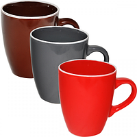 Чашка 400 мл 3 цвета Микс белый ободок