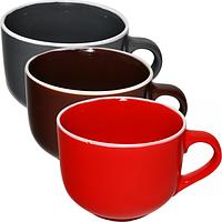 Чашка 540 мл 3 цвета Микс белый ободок