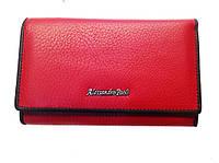 Женский кошелек Alessandro Paoli WS-3 красный из натуральной кожи размер 14х8 монетница снаружи