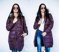 Куртка женская длинная стеганная с натуральным мехом P422, фото 1