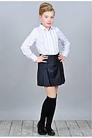 Школьная рубашка с рюшем Карина  122-146рр белая