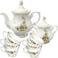 Набор чайный 8пр. Золотая ветка (чашка-200мл,чайник-700мл, сахарница-500мл)