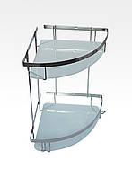 Полка для ванной двойная из нержавейки 304 марки (со стеклом)