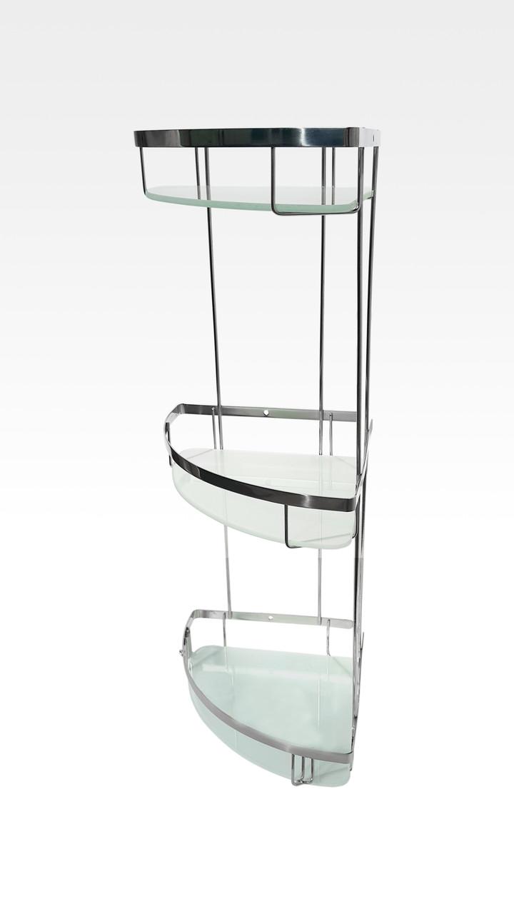 Полка для ванной тройная (со стеклом) из нержавейки 304 марки