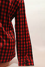 Женские рубашки в клетку оптом VSA красный-черный мелкая клетка, фото 3