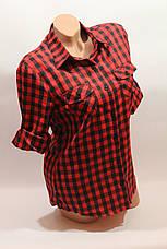 Женские рубашки в клетку оптом VSA красный-черный мелкая клетка, фото 2