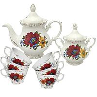 50773 Набор чайный 8пр. Полевой мак (чашка-200мл,чайник-700мл, сахарница-500мл)