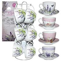 Сервиз чайный 12 пр. на стойке Цветы микс3 (200мл,d13,5см)