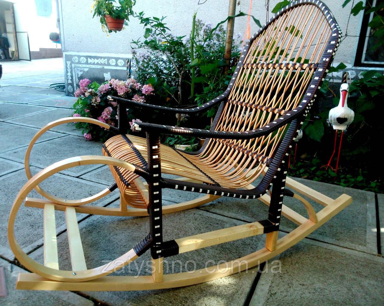 Качалка плетеная с оригинальным дизайном   кресло-качалка для отдыха садовая для дачи