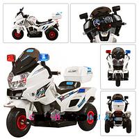 Мотоцикл детский аккумуляторный с надувными резиновыми колесами M 0599 A-1 белый