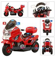 Мотоцикл детский аккумуляторный с надувными резиновыми колесами M 0599 A-3-2 красный