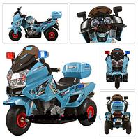 Мотоцикл детский аккумуляторный с надувными резиновыми колесами M 0599 A-4 голубой