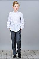 Школьная белоснежная рубашка для девочки из натуральных тканей, рост 122-146