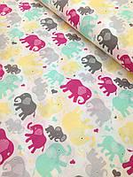Хлопковая ткань польская цветные слоники