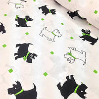 Хлопковая ткань польская собачкии черно-салатновые