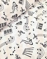 Хлопковая ткань польская ноты черные на белом