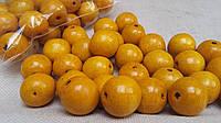 Желтые деревянные бусины круглой формы, 30 шт,  диаметр - 2 см.,  10 гр.