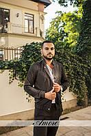Мужской стильный костюм с пиджаком в стиле бомбер