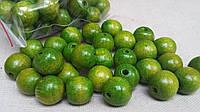 Оливковые бусины из дерева, круглые, 30 шт,  диаметр - 2 см.,  10 гр.