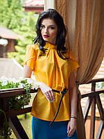 Красивая шифоновая женская блуза горчичного цвета