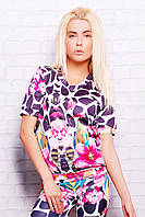 Женский свитшот с коротким рукавом с принтом Цветной Жираф