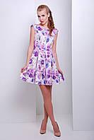 Летнее платье с юбкой в складку и рукавом японкой белое с сиреневыми цветами